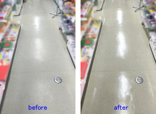 商店で床清掃、ワックスかけ