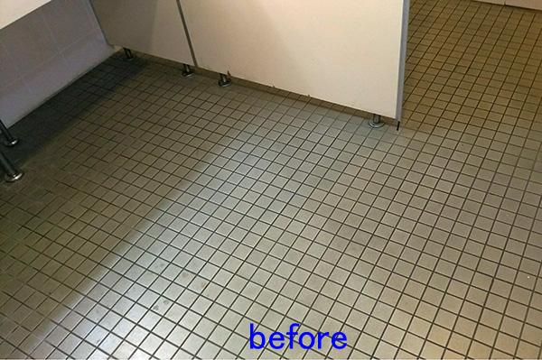 トイレ床清掃前 タイル洗浄前