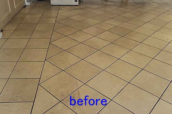 タイル床清掃 タイル床洗浄前
