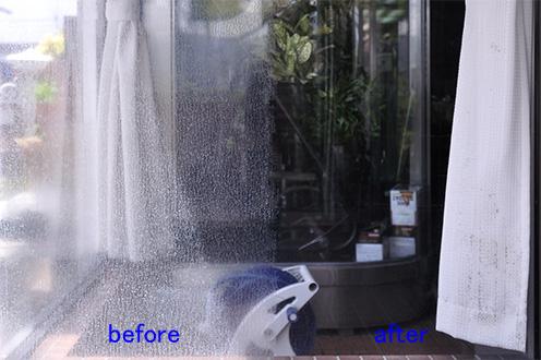 窓ガラス磨き 水垢取り 白いウロコ汚れを落とす