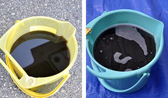 エアコン掃除 洗浄 回収した汚水