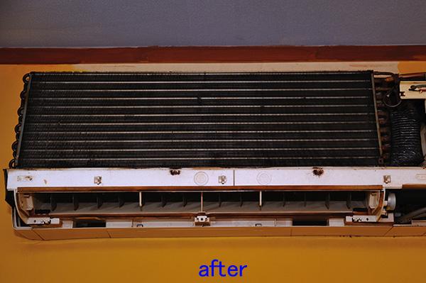 壁掛けエアコン 分解クリーニング 熱交換器洗浄後