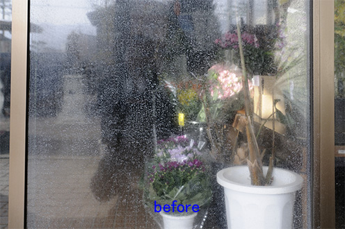 窓ガラス 水垢取り、ウロコ落とし クリーニング前
