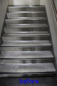 階段床清掃 ワックス