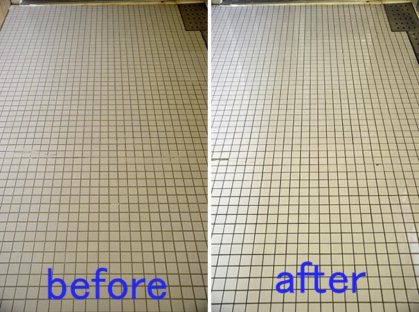 浴室の滑りやすい床タイル クリーニングのビフォーアフター