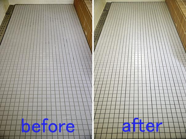 滑りやすい浴室の床タイル クリーニングのビフォーアフター