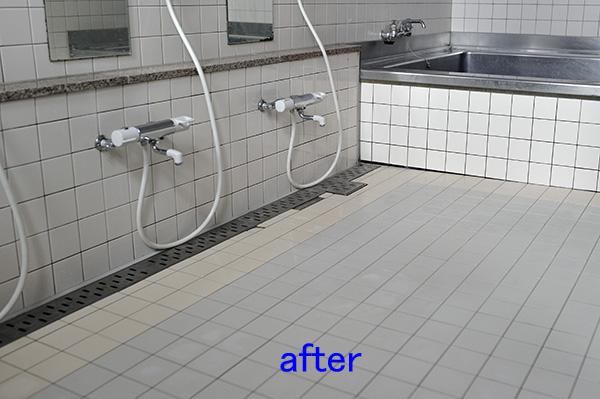 浴室、風呂クリーニング タイル洗浄、水垢落とし後