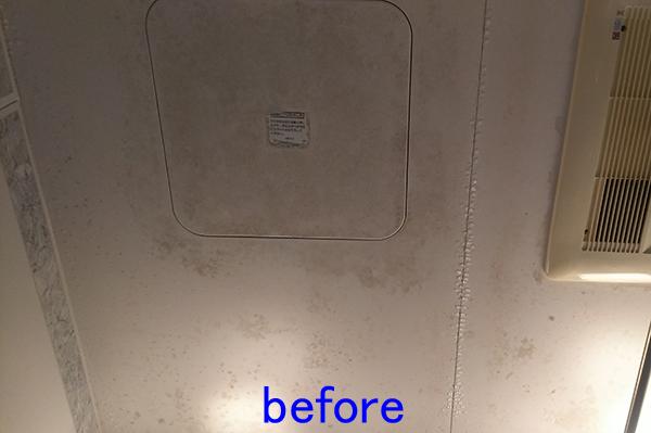 浴室の天井 カビ取り前