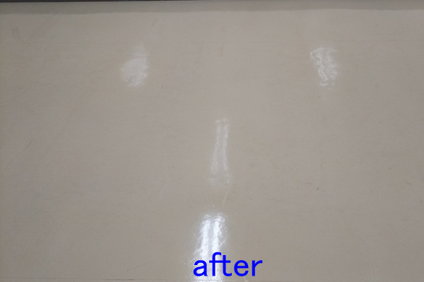 倉庫のフロアクリーニング、床清掃後