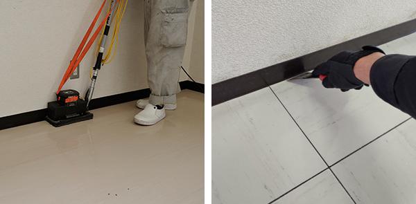 床清掃中 壁際の汚れを落とす