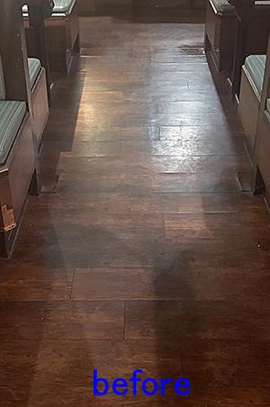 飲食店の床清掃。クリーニング前